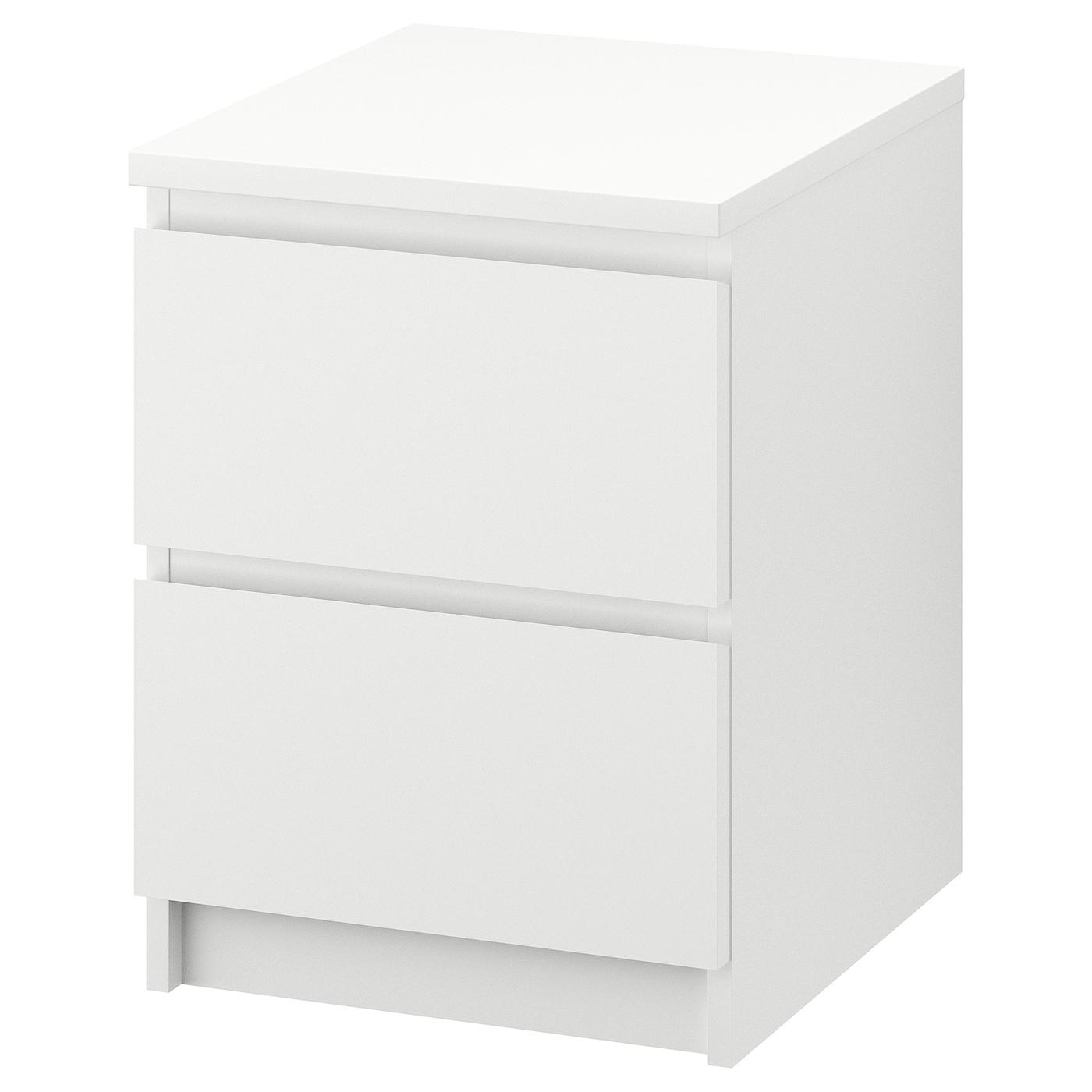 Ikea Meuble Blanc Laqué malm commode 2 tiroirs - blanc 40x55 cm