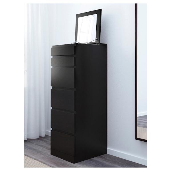 malm commode 6 tiroirs - brun noir  miroir