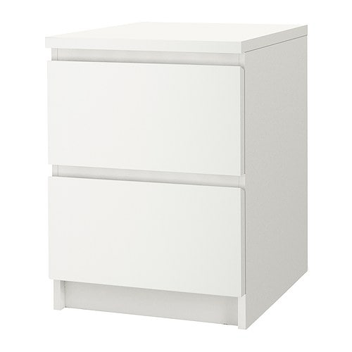 Malm commode 2 tiroirs blanc ikea - Dimension table de nuit ...