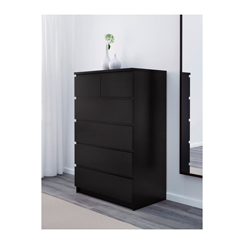 malm commode 6 tiroirs brun noir ikea. Black Bedroom Furniture Sets. Home Design Ideas