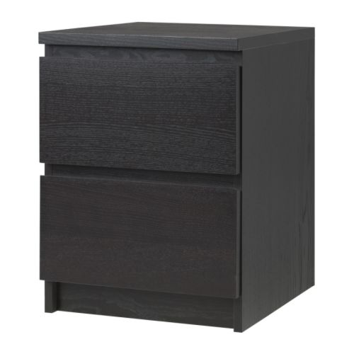 Malm commode 2 tiroirs brun noir ikea for Table de chevet malm chene blanchi