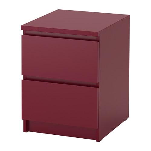 Malm Commode 2 Tiroirs Rouge Fonce Ikea