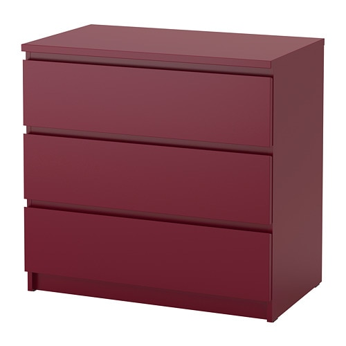 malm commode 3 tiroirs rouge fonc ikea. Black Bedroom Furniture Sets. Home Design Ideas