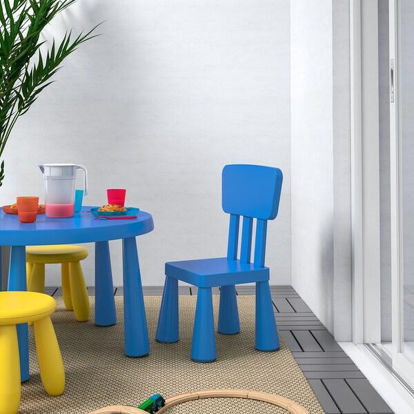 MAMMUT Chaise enfant, intérieur/extérieur, bleu - IKEA