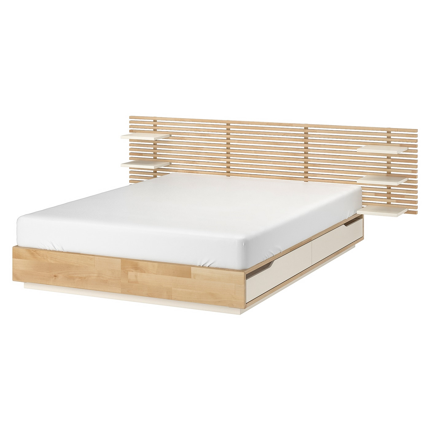 MANDAL Structure lit avec tête de lit, bouleau, blanc, 160x202 cm - IKEA