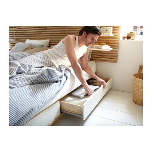 mandal structure lit avec tête de lit - 160x202 cm - ikea