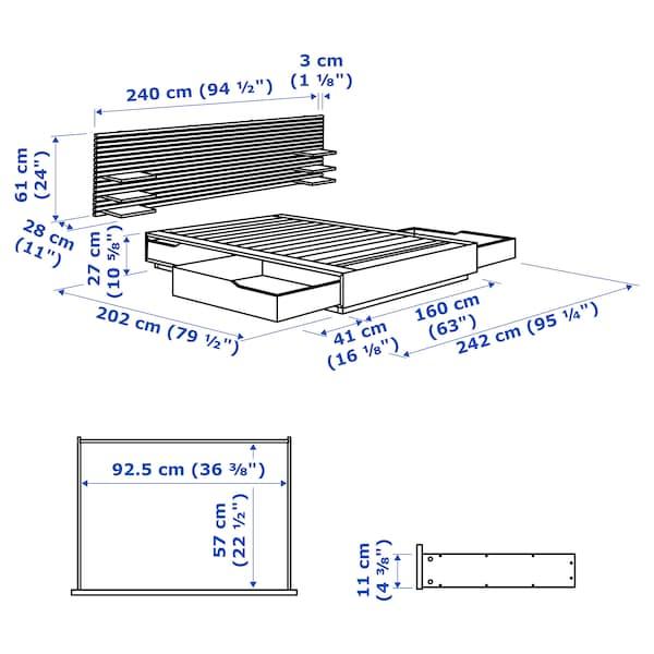 MANDAL Structure lit avec tête de lit, bouleau/blanc, 160x202 cm