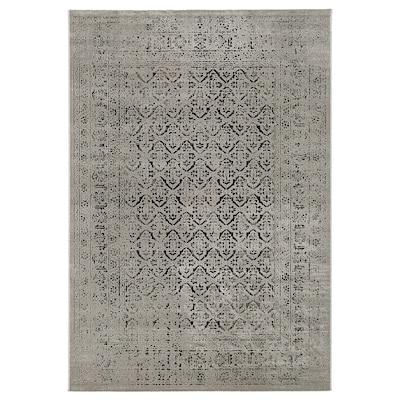 MANSTRUP Tapis, poils ras, gris aspect antique/à motif floral, 160x230 cm