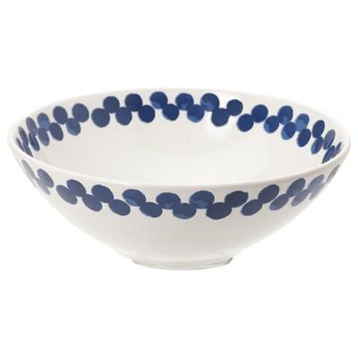 MEDLEM Bol, blanc/bleu/à motifs, 19 cm