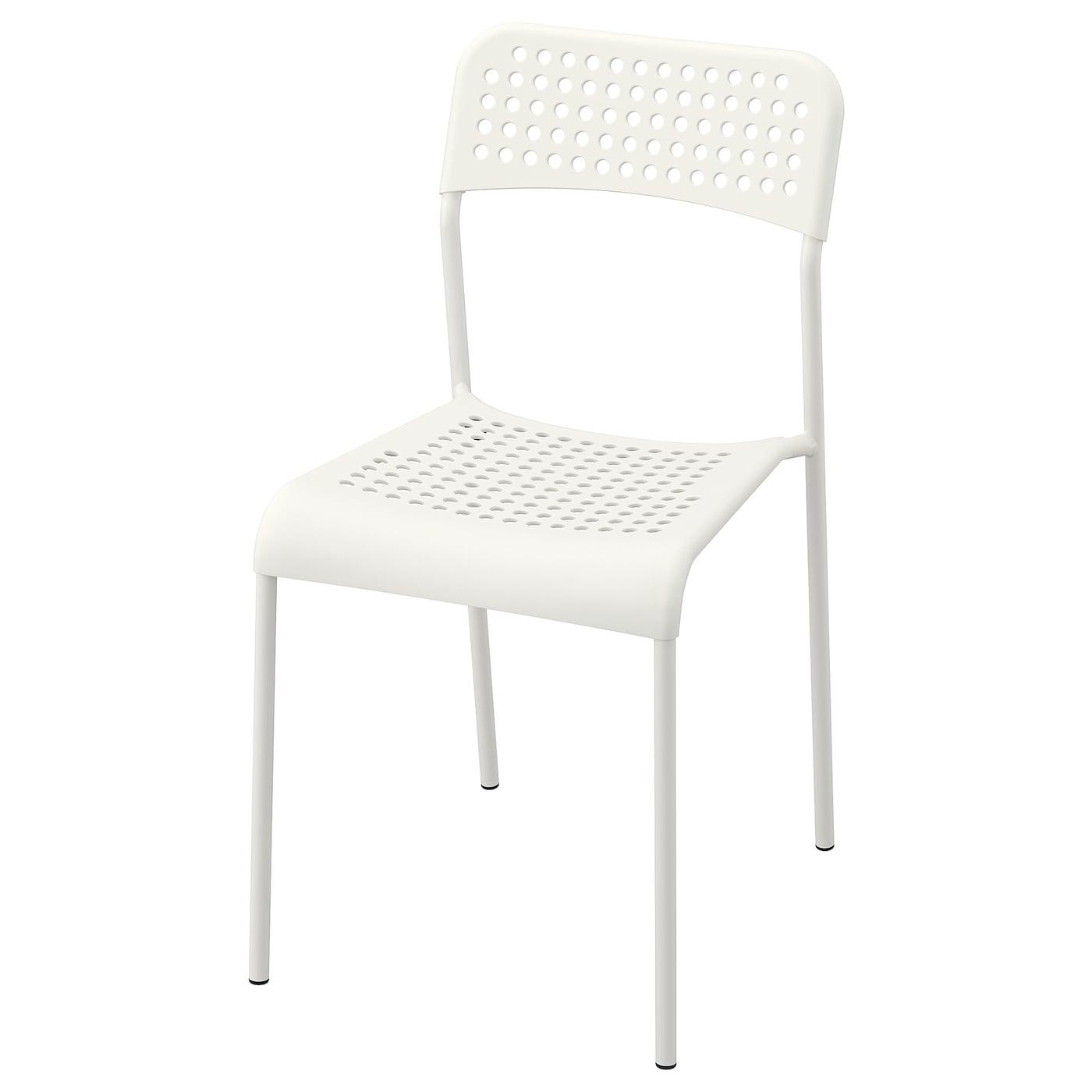 MELLTORP / ADDE Table et 7 chaises - motif mosaïque blanc/blanc 7x7 cm