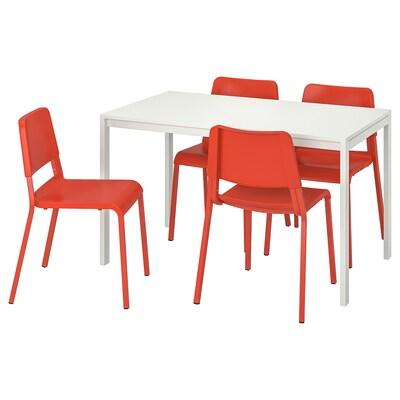 MELLTORP / TEODORES table et 4 chaises blanc/orange vif 125 cm 75 cm 72 cm