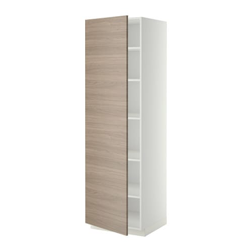 metod armoire avec tablettes blanc 60x60x200 cm brokhult motif noyer gris clair ikea. Black Bedroom Furniture Sets. Home Design Ideas