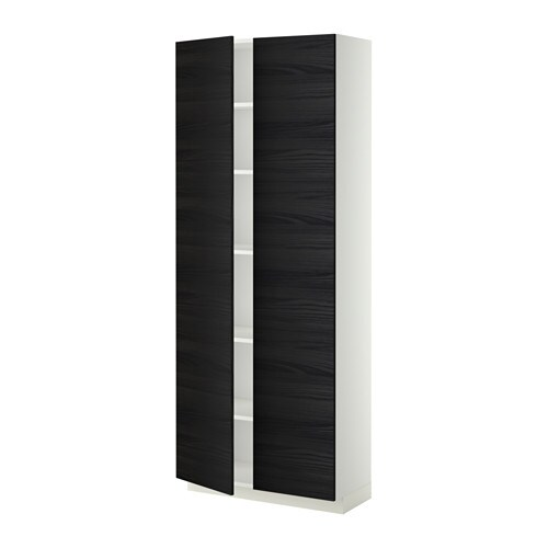metod armoire avec tablettes blanc 80x37x200 cm tingsryd effet bois noir ikea. Black Bedroom Furniture Sets. Home Design Ideas