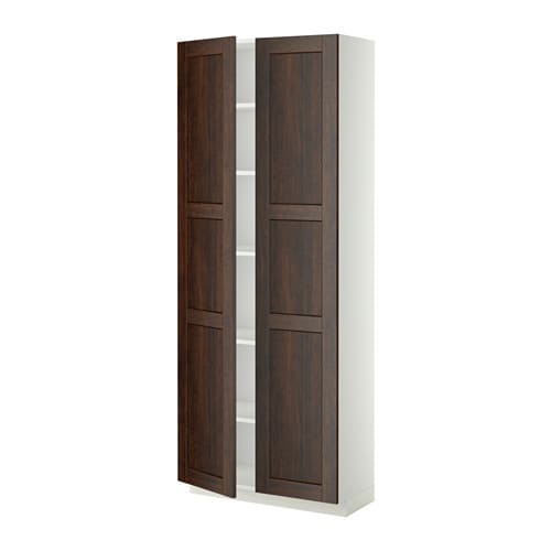 metod armoire avec tablettes blanc edserum effet bois brun 80x37x200 cm ikea. Black Bedroom Furniture Sets. Home Design Ideas