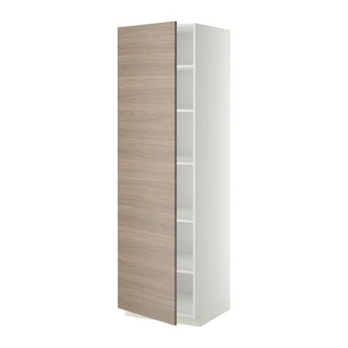 metod armoire avec tablettes blanc brokhult motif noyer gris clair 60x60x200 cm ikea. Black Bedroom Furniture Sets. Home Design Ideas