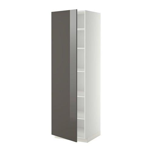 Metod armoire avec tablettes blanc ringhult brillant for Meuble 50 cm de large