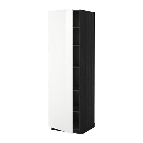 metod armoire avec tablettes effet bois noir ringhult brillant blanc 60x60x200 cm ikea. Black Bedroom Furniture Sets. Home Design Ideas