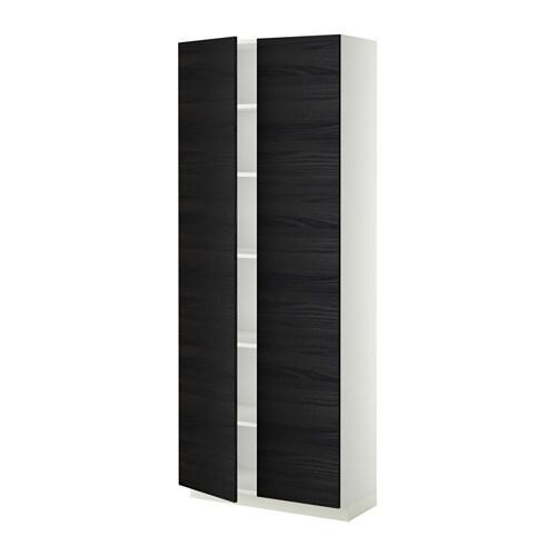 metod armoire avec tablettes blanc tingsryd effet bois noir 80x37x200 cm ikea. Black Bedroom Furniture Sets. Home Design Ideas