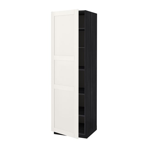 metod armoire avec tablettes effet bois noir s vedal blanc 60x60x200 cm ikea. Black Bedroom Furniture Sets. Home Design Ideas