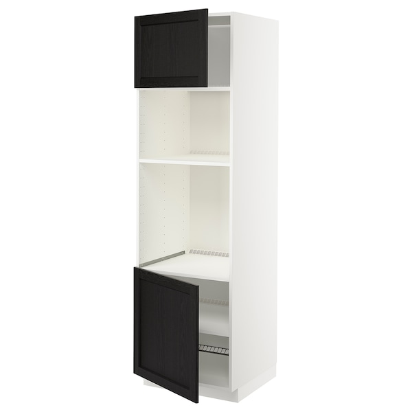 METOD Armoire four/micro-ondes 2portes/tb, blanc/Lerhyttan teinté noir, 60x60x200 cm