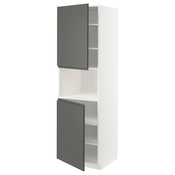 METOD Armoire micro-ondes+2ptes/tablette, blanc/Voxtorp gris foncé, 60x60x200 cm