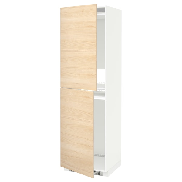 METOD Armoire pour réfrig./congélateur, blanc/Askersund effet frêne clair, 60x60x200 cm
