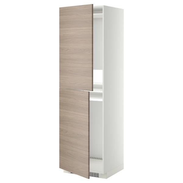 METOD Armoire pour réfrig./congélateur, blanc/Brokhult gris clair, 60x60x200 cm