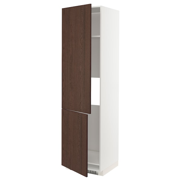 METOD Armoire réfr/cong 2ptes, blanc/Sinarp brun, 60x60x220 cm