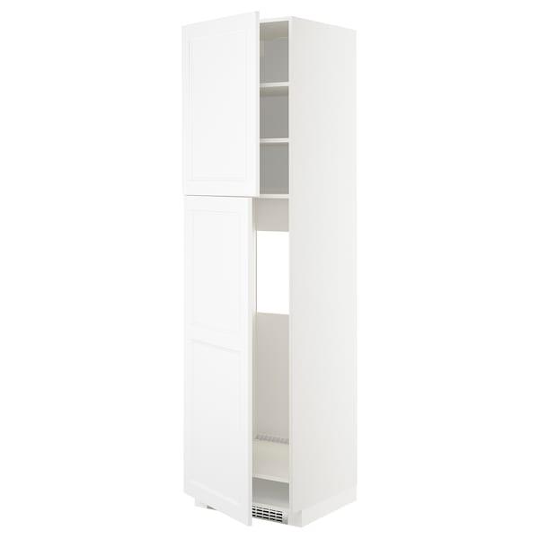 METOD Armoire réfrigérateur + 2 portes, blanc/Axstad blanc mat, 60x60x220 cm