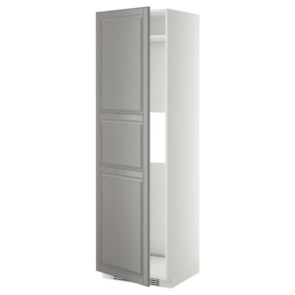 METOD Armoire réfrigérateur/congél+pte, blanc/Bodbyn gris, 60x60x200 cm