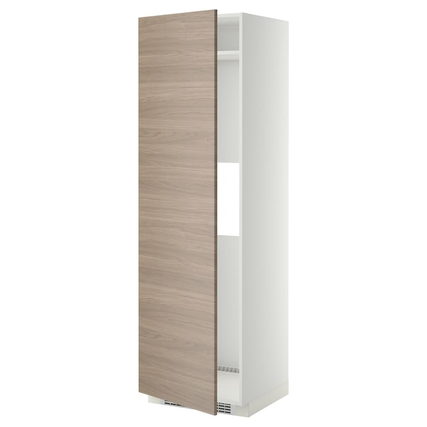METOD Armoire réfrigérateur/congél+pte, blanc/Brokhult gris clair, 60x60x200 cm