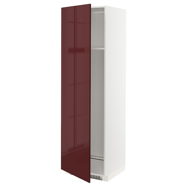 METOD Armoire réfrigérateur/congél+pte, blanc Kallarp/brillant brun-rouge foncé, 60x60x200 cm