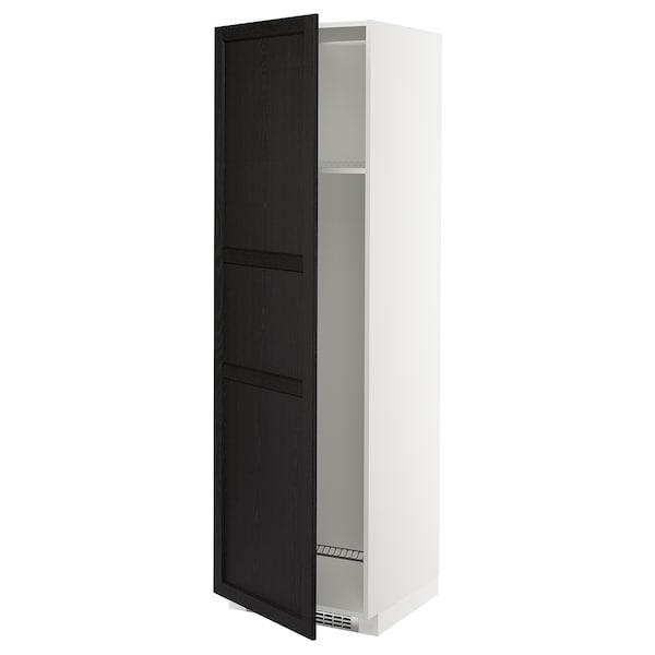 METOD Armoire réfrigérateur/congél+pte, blanc/Lerhyttan teinté noir, 60x60x200 cm