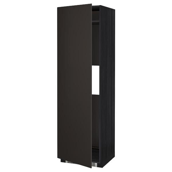 METOD Armoire réfrigérateur/congél+pte, noir/Kungsbacka anthracite, 60x60x200 cm