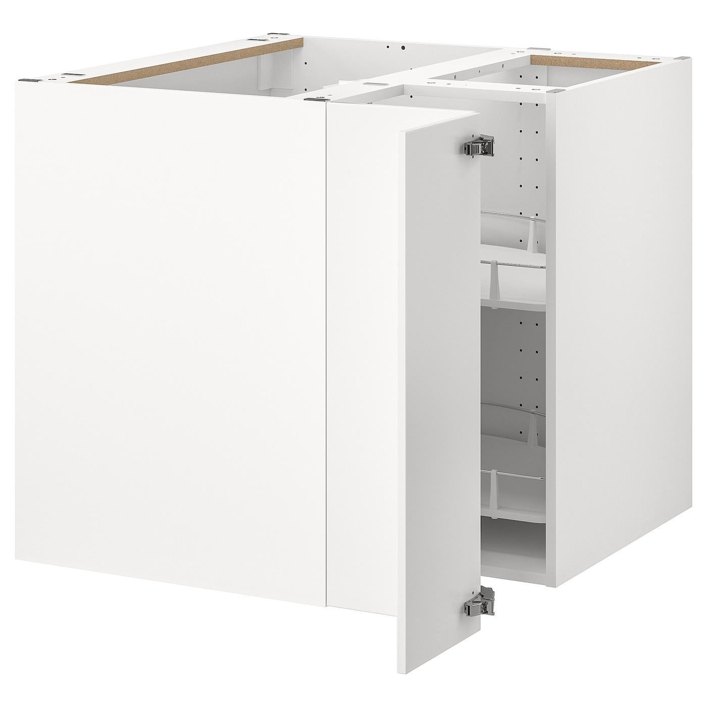 METOD Élément bas angle+rgt pivotant - blanc/Veddinge blanc 11x11 cm