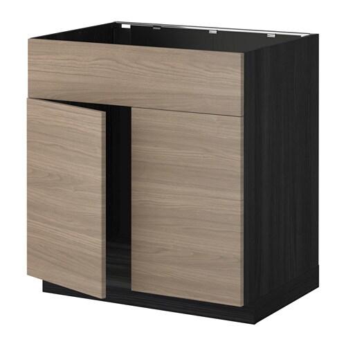 metod l bas pr vier 2ptes face effet bois noir brokhult motif noyer gris clair ikea. Black Bedroom Furniture Sets. Home Design Ideas