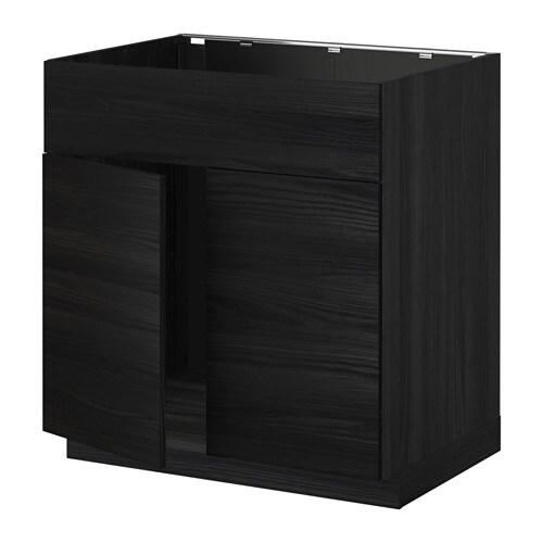 metod l bas pr vier 2ptes face effet bois noir tingsryd effet bois noir ikea. Black Bedroom Furniture Sets. Home Design Ideas