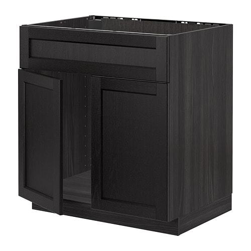 metod l bas pr vier 2ptes face effet bois noir lerh. Black Bedroom Furniture Sets. Home Design Ideas