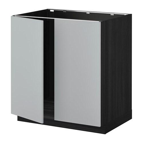 metod l vier 2 ptes effet bois noir veddinge gris ikea. Black Bedroom Furniture Sets. Home Design Ideas