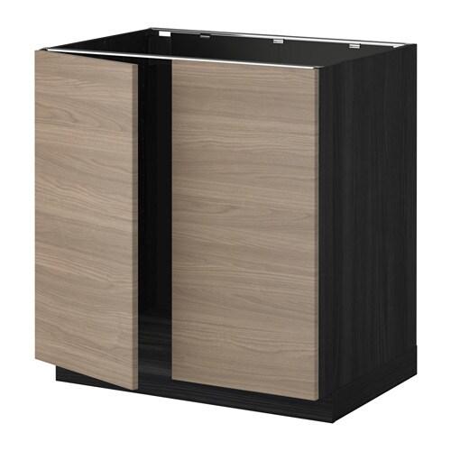 metod l vier 2 ptes effet bois noir brokhult motif. Black Bedroom Furniture Sets. Home Design Ideas