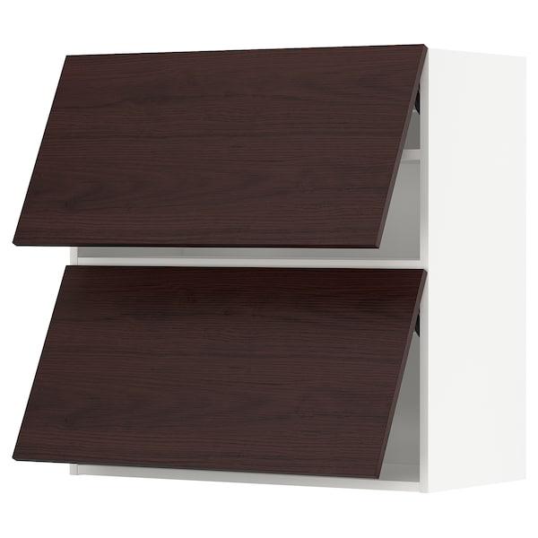 METOD Él mur horiz 2 ptes av ouv press, blanc Askersund/brun foncé décor frêne, 80x80 cm