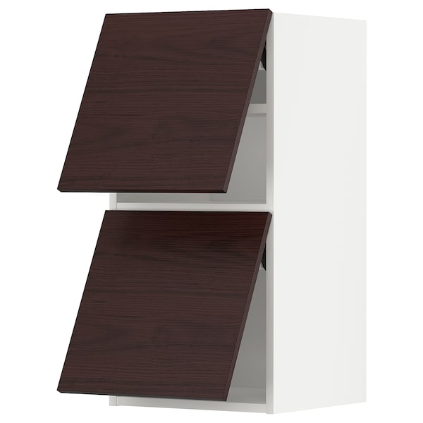 METOD Él mur horiz 2 ptes av ouv press, blanc Askersund/brun foncé décor frêne, 40x80 cm