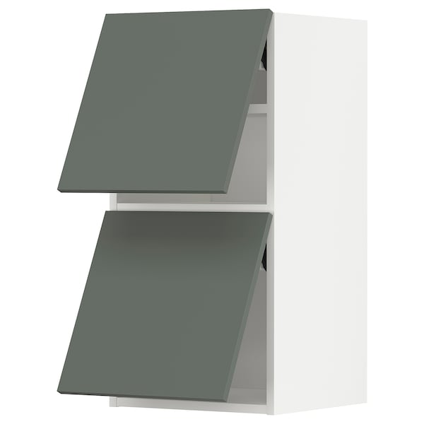 METOD Él mur horiz 2 ptes av ouv press, blanc/Bodarp gris vert, 40x80 cm