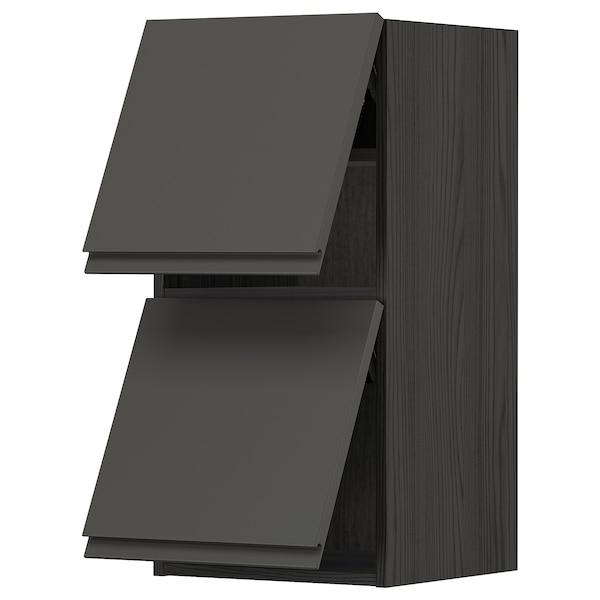 METOD Él mur horiz 2 ptes av ouv press, noir/Voxtorp gris foncé, 40x80 cm