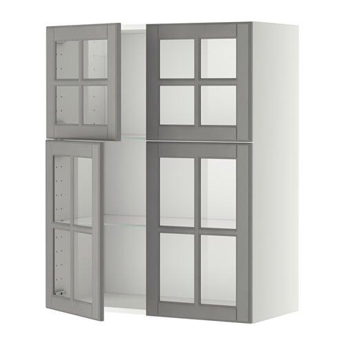 Metod l mur tblts 4p vit blanc bodbyn gris ikea - Ikea element haut cuisine ...