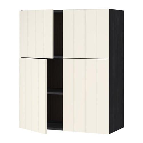 Metod l mur tbs 4p effet bois noir hittarp blanc cass - Mur blanc casse ...