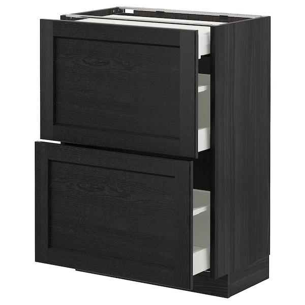 METOD Élément bas 2 faces/3 tiroirs, noir/Lerhyttan teinté noir, 60x37 cm