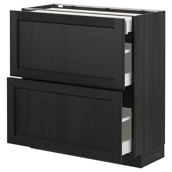 METOD Élément bas 2 faces/3 tiroirs, noir/Lerhyttan teinté noir, 80x37 cm