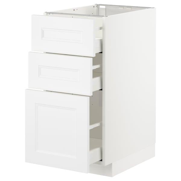 METOD Élément bas 3 tiroirs, blanc/Axstad blanc mat, 40x60 cm