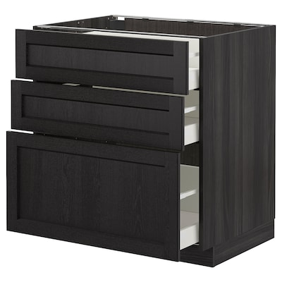 METOD Élément bas 3 tiroirs, noir/Lerhyttan teinté noir, 80x60 cm